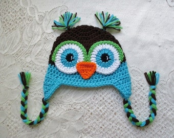 Dark Brown, Turquoise and Lime Green Crochet Owl Hat - Photo Prop - Available in Any Size or Color Combination