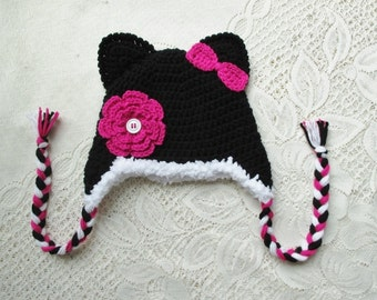 Pink and Black Kitty with Bow and Flower - Crochet Winter Hat or Photo Prop - Available in Any Size or Color Combination