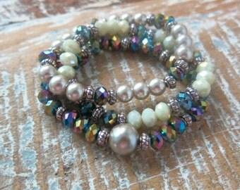 Stretch bracelets - set of three - boho jewelry