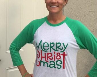 Merry Christmas shirt, Raglan Merry Christmas shirt, Women's Christmas Shirt, 3/4 Raglan sleeve Christmas Shirt