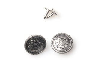 10 sets 20mm Buttons denim  No Sew  jeans tack Metal buttons Antique silver button fastener with manual - Sunflower