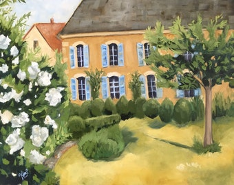 FINE ART GICLEE print:  French cottage landscape painting