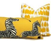 Yellow Scalamandre Zebra Decorative Pillow Cover  Lumbar Pilllow, Accent Pillow, Throw Pillow