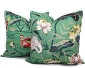 Jade Lotus Garden Decorative Pillow Cover 18x18, 20x20, 22x22, 24x24, Eurosham or Lumbar Pillow, Lily pad pillow, throw pillow, toss pillow