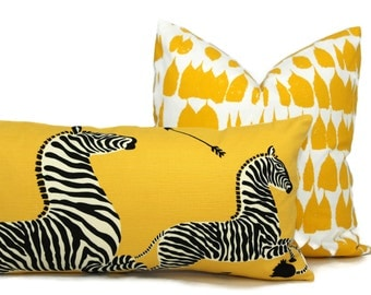 Yellow Scalamandre Zebra Decorative Pillow Cover  Lumbar Pilllow, Accent Pillow, Throw Pillow