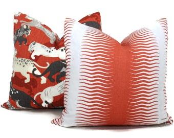 Decorative Pillow Cover Robert Allen Gita Stripe Square, Euro sham or Lumbar pillow,  Accent pillow- Throw Pillow 20x20