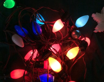 1950s christmas light strand18 multi color large c9 bulbs vintage xmas tree decoration - Vintage Christmas Tree Lights