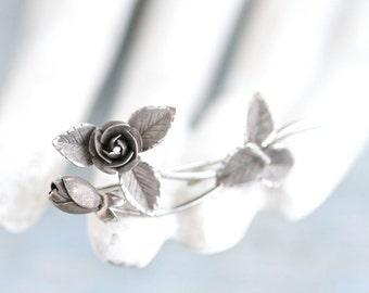 Silver Rose Lapel Pin - Antique Flower Brooch