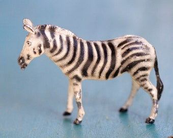 Little Lead Zebra - Iron Cast - Antique Zoo Toy Animal - Made in England
