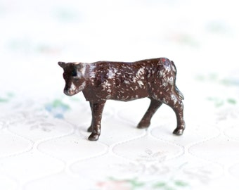 Tiny Lead Calf - Antique Miniature Iron Cast Farm Horse Toy - Made in England