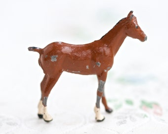 Lead Horse - Brown Iron Cast Antique Animal - Made in England