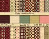 Digital Printable Scrapbooking Paper Patterned Backgrounds Photo Resources - 25 designs - 300 dpi - jpg - VANILA ICE