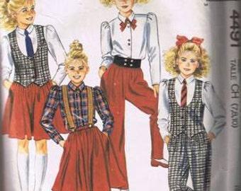 McCall's 4491 Girls Vest, Blouse, Skirt, Pants Sizes 7, 8, 10