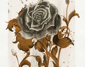 Black Rose with Gold Ink Painting