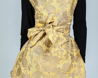 Vintage Apron, Women's Apron, Recycle, Yellow and Gold Apron