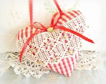 "Door Hanger Heart Ornament / 5"" Home Decor Fabric,  Coral Plaid Heart / Door Hanger Handmade CharlotteStyle Decorative Folk Art"