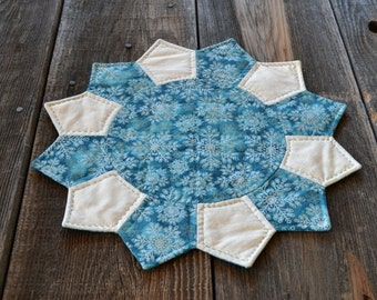 Snowflake Table Topper - Winter Table Mat  - Teal Christmas Dresden Plate Candle Mat - Hand Quilted - Holiday Home Decor - Country Decor