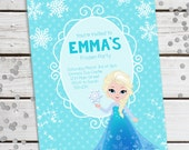 Personalized Printable Frozen Inspired Invitation - Personalized Printable Invite featuring Elsa for Birthdays or Frozen Parties .. fi01