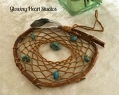 Rustic dream catcher - natural red willow - turquoise gemstones - prayer feather
