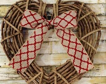 Heart Wreath - Handmade Heart Decoration - Valentine Party Wreath - Valentine Decor