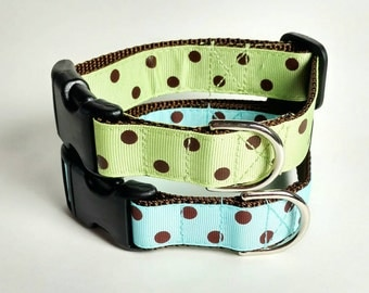 "Green or Blue Dog Collar, Ready To Ship 1"" Dog Collar Only - Brown Polka Dots - Choose Your Color"