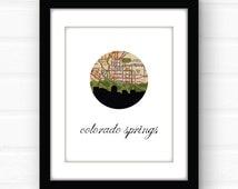 Colorado art print | Colorado Springs | Colorado map art | Colorado wall art | mountain decor | Colorado home decor | city skyline map art