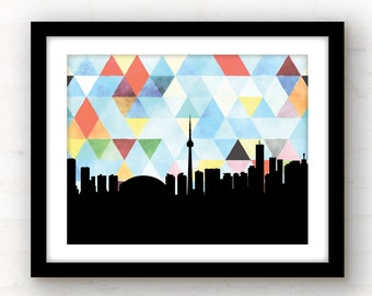 Toronto skyline art | geometric Toronto print | watercolor art | geometric print | Toronto, Canada art | Toronto home | Toronto poster