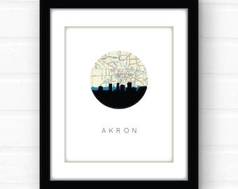Akron, Ohio map art | Akron map art | Akron skyline art | Akron, Ohio art | Akron, Ohio print | Akron skyline print | city skyline map art