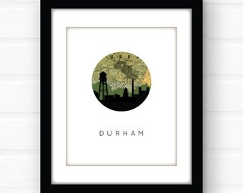Durham NC home decor | North Carolina wall art | North Carolina home decor | Duke wall art | map art print | map wall art | city skyline art