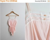 ON SALE // 70s Teddy Nylon Lace Bodysuit / Pink Teddy Lingerie / Wedding nightgown / Size XS/S