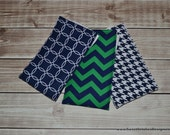 Baby Boy Burp Cloths Boutique Boy Navy Green Burp Cloth Set - Chevron Circle Houndstooth