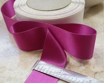 "1"" Vintage Double Faced Satin Ribbon Magenta Fuschia Pink  Acetate/Rayon"