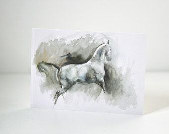 Horse in its tracks Postcard, Equine Art Print
