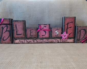 BLESSED Word Block Sign
