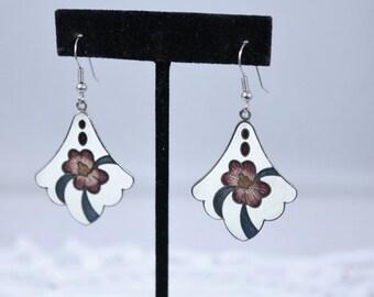 Pretty Flower Design Enamel Fashion Dangle Earrings - Pierced