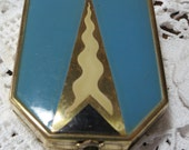 Lovely Art Deco Loose Guilloche metal, inlaid enameled loose powder, mirror and lipstick compact. Original lipstick! GB16.1-1.14-1.