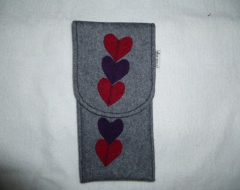 Red Heart Glasses Case