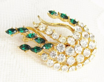 Vintage Emerald Green Clear Rhinestone Brooch 1960s