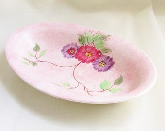 Vintage Art Deco Pink Flower Hand Painted Serving Dish E. Radford Pottery 1930s