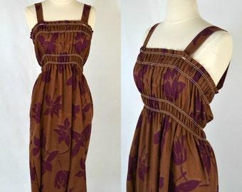 1970s Brown and Large Purple Hibiscus Print Sundress, XSmall, Tea Length