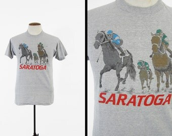 Vintage Saratoga Racetrack T-shirt Horse Race Jockeys Heather Grey - Small / Medium