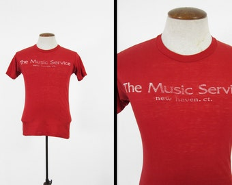 Vintage 70s Music Service T-shirt Red Paper Thin New Haven CT 5050 - Small / Medium