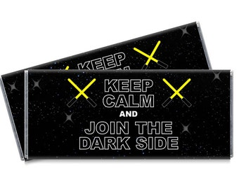 Keep Calm Join the Dark Side Candy Bar Wrappers - Personalized Dark Side Party Favors - Set of 12