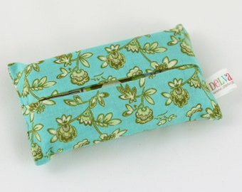 Pocket Tissue Cover, Aqua Floral Travel Size Kleenex Pack Cover, Hostess Gifts under 10, READY TO SHIP
