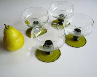 Vintage, Romer, Tall Sherbet, Coupe Champagne, Austrian Crystal, Vienna, Mouth Blown, Edelglas Wien, Mund Geblasin, Wheel Cut Grapes, Green