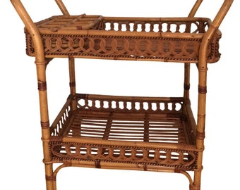 Bamboo Bar Cart. Gorgeous Bar Cart. Rolls beautifully. Rare Rolled Wicker Design. Bamboo Tray Removable.