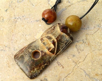 Ancient Neolithic Jade Eagle Hawk Owl Bird Axe Pendant Necklace with Antique Jade Beads by NeoWare