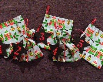 25 Advent Calendar Gift Bags- Light Blue with Festive Owls, Embossed Numbers on Star, Jingle Bells on Ribbon- Only 1 of this set!