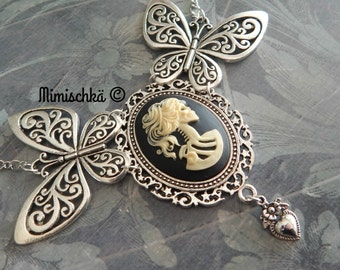 Necklace  gothic cameo skeleton and butterfly