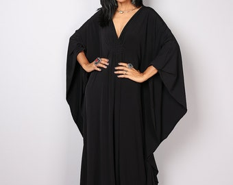 Black Maxi Dress - Kaftan Kimono Butterfly Dress: Funky Elegant Collection No.1s